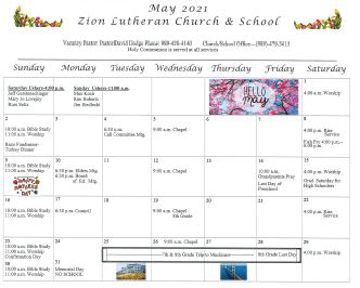Zion's May Calendar